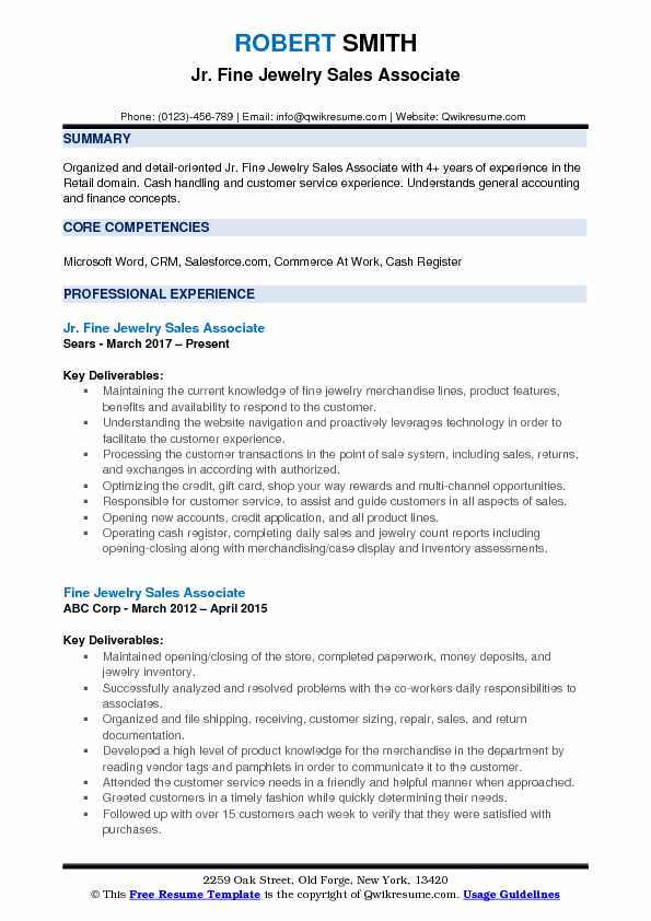 Jr. Fine Jewelry Sales Associate Resume Sample