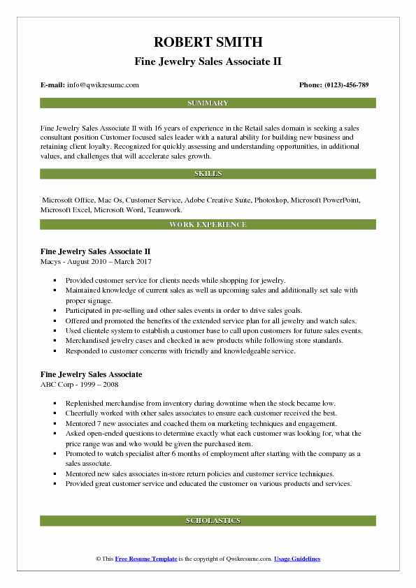 Fine Jewelry Sales Associate II Resume Example