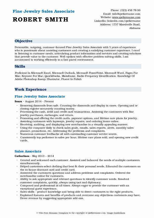 Fine Jewelry Sales Associate Resume Template