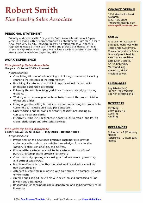 Fine Jewelry Sales Associate Resume Example