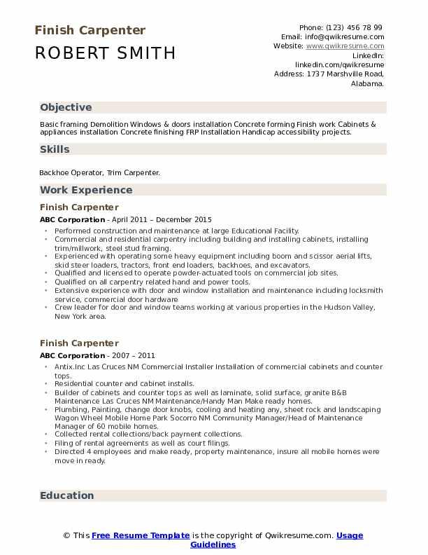 Finish Carpenter Resume Example