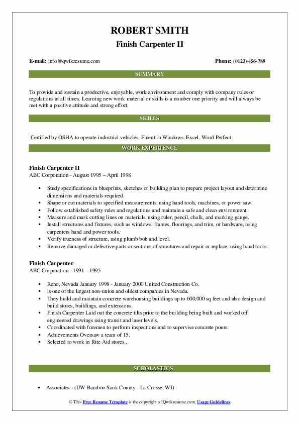 Finish Carpenter II Resume Model