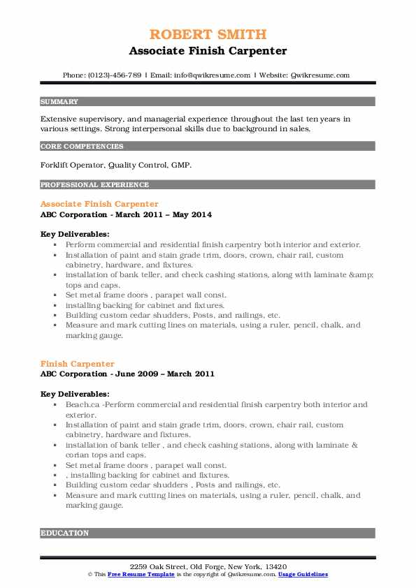 Associate Finish Carpenter Resume Sample