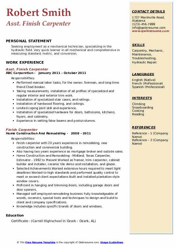 Asst. Finish Carpenter Resume Template