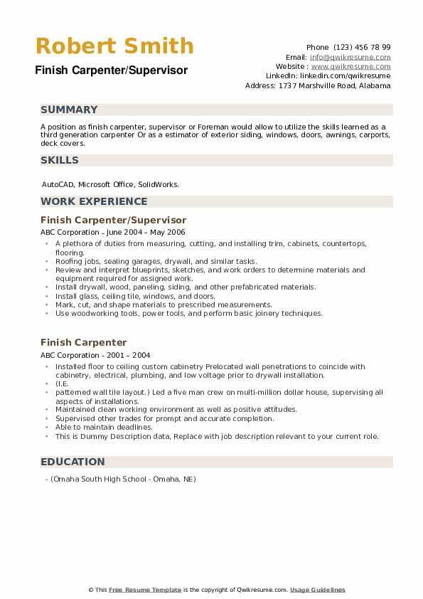 Finish Carpenter/Supervisor Resume Template