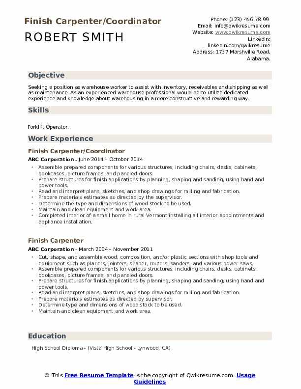 Finish Carpenter/Coordinator Resume Example
