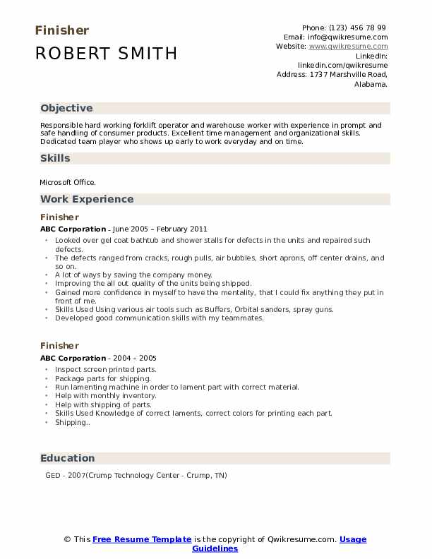 Finisher Resume Template