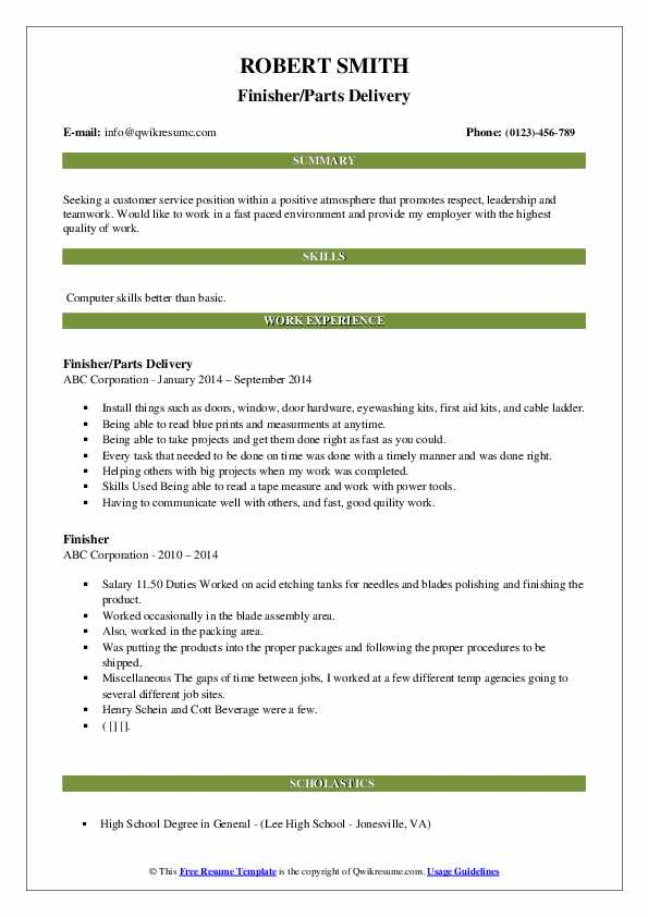 Finisher/Parts Delivery Resume Format
