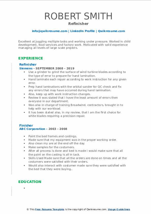 Refinisher Resume Example