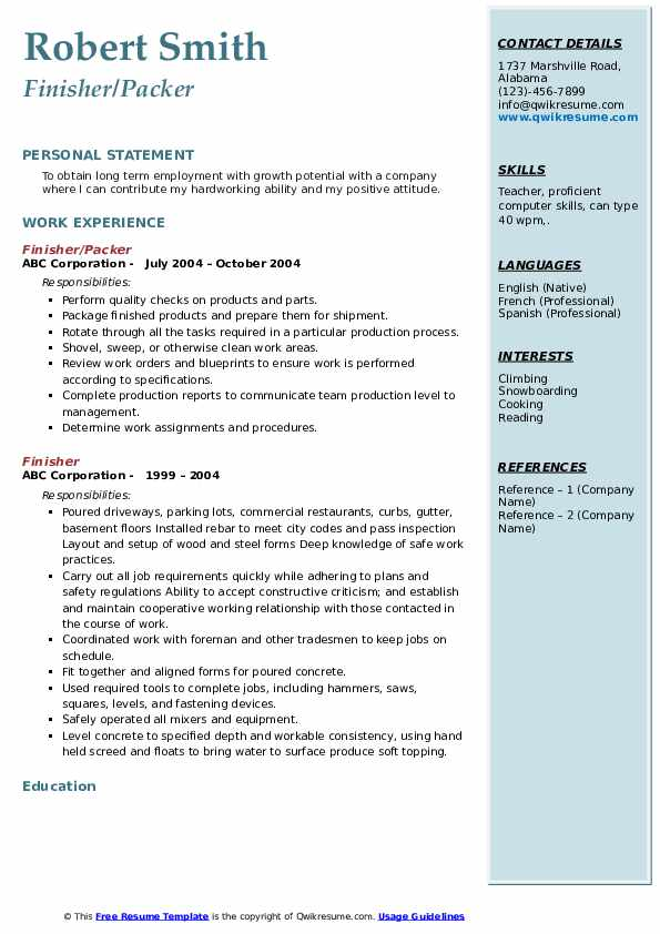 Finisher/Packer Resume Template