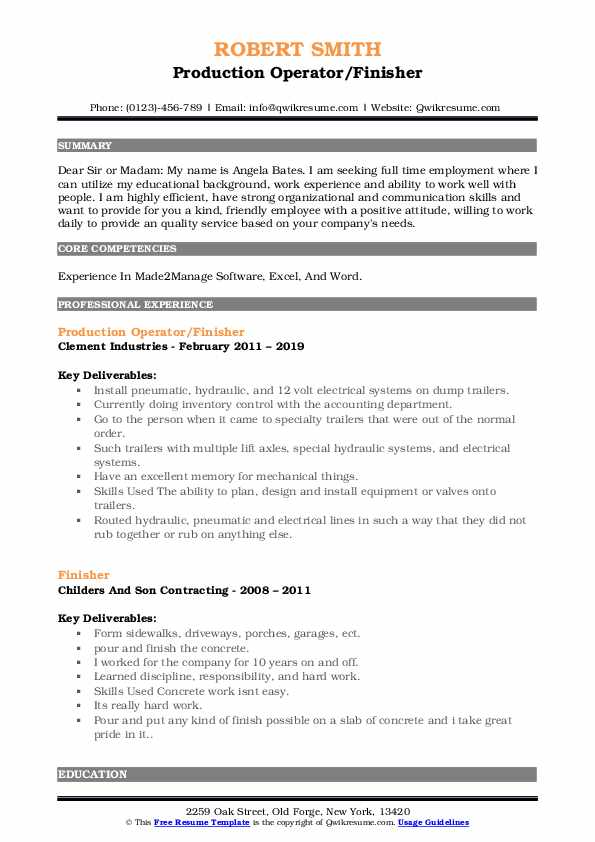 Production Operator/Finisher Resume Model