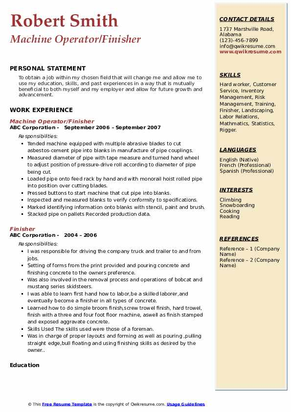 Machine Operator/Finisher Resume Example