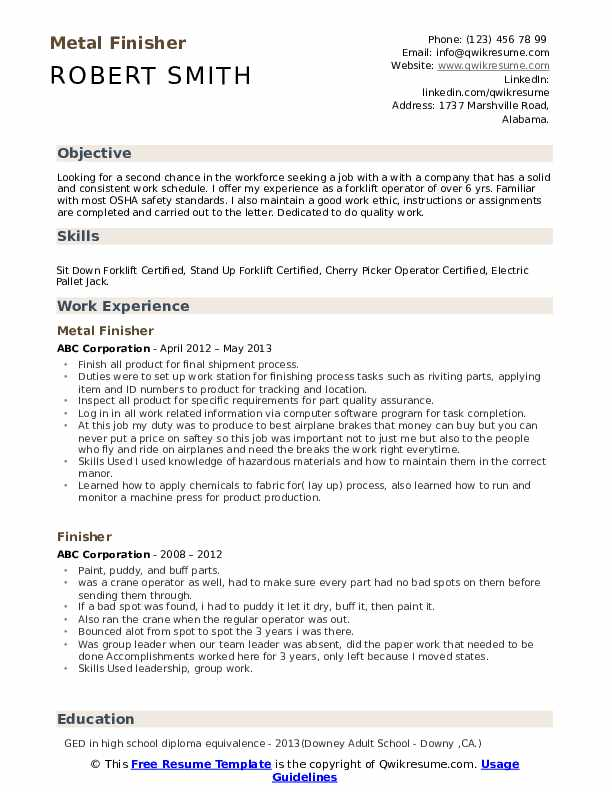 Metal Finisher Resume Format