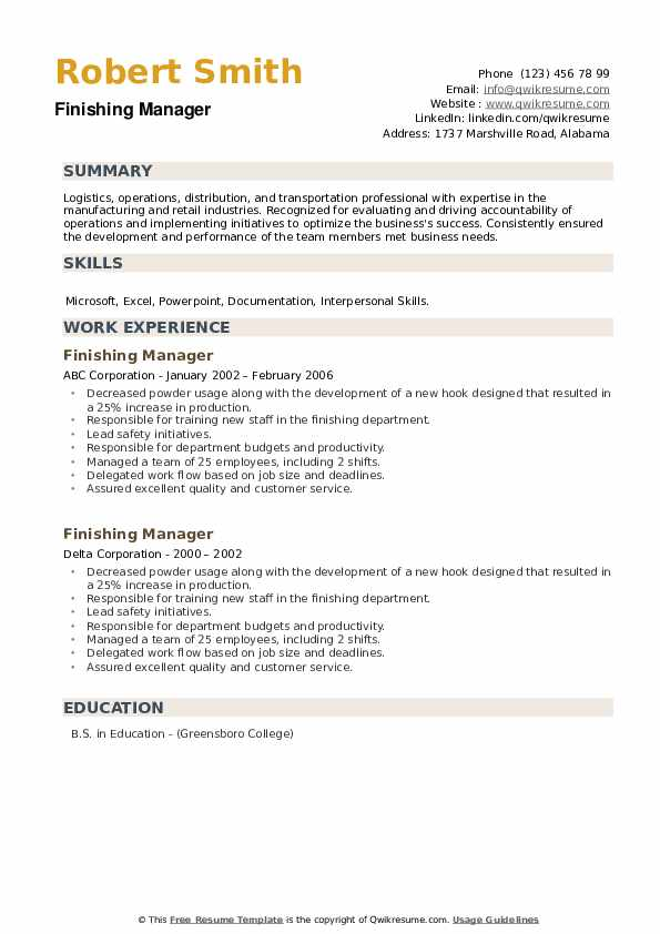 Finishing Manager Resume example