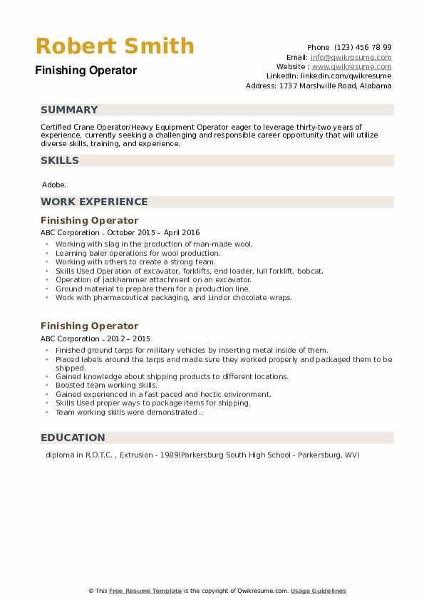 Finishing Operator Resume example