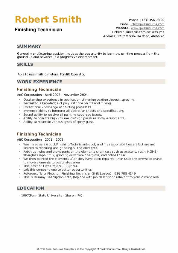 Finishing Technician Resume example