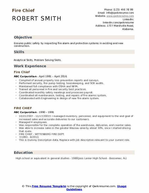 Fire Chief Resume Samples Qwikresume