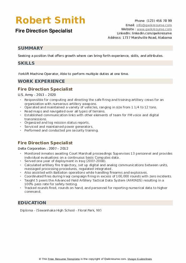 Fire Direction Specialist Resume example