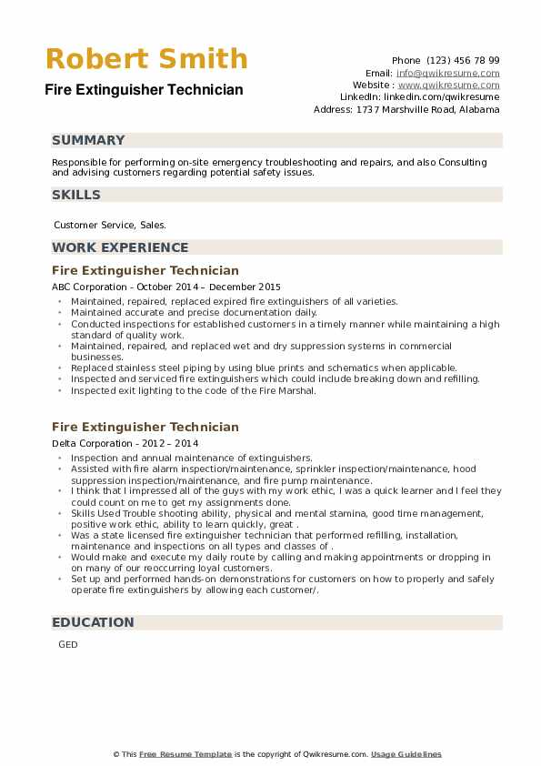Fire Extinguisher Technician Resume example