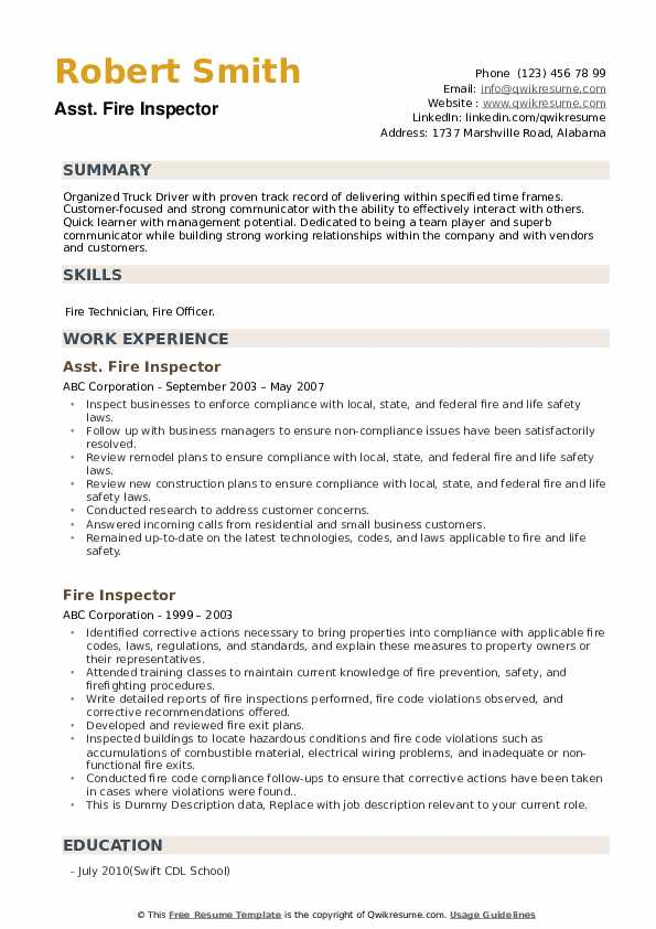 Fire Inspector Resume example