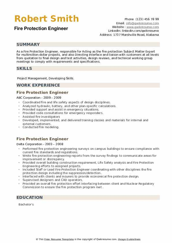 Fire Protection Engineer Resume example