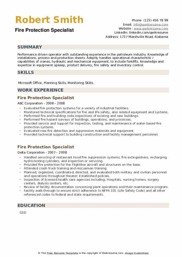 Fire Protection Specialist Resume example