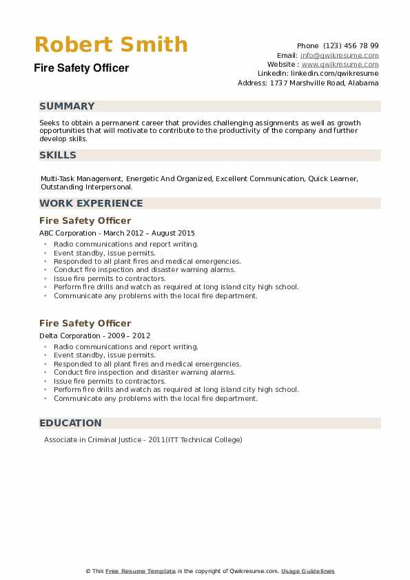 Fire Safety Officer Resume example