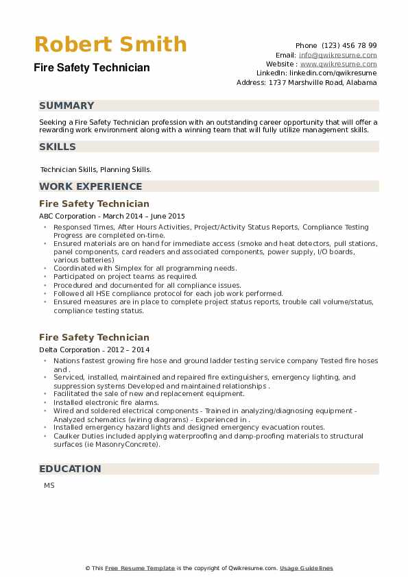 Fire Safety Technician Resume example