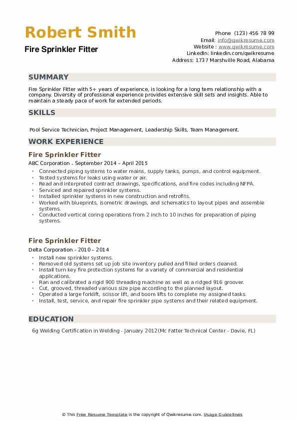 Fire Sprinkler Fitter Resume example
