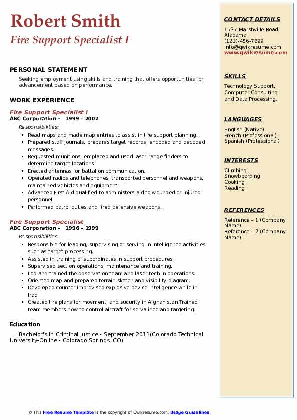 Fire Support Specialist Resume example