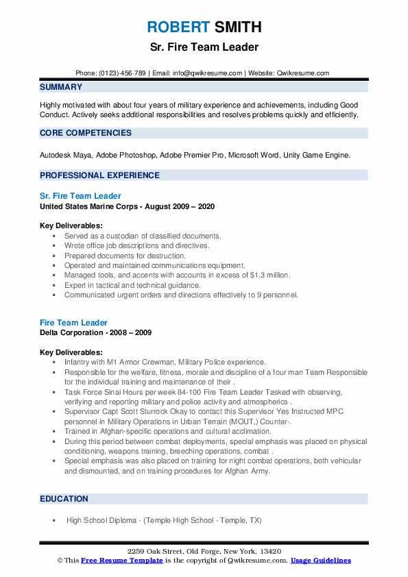fire team leader resume samples