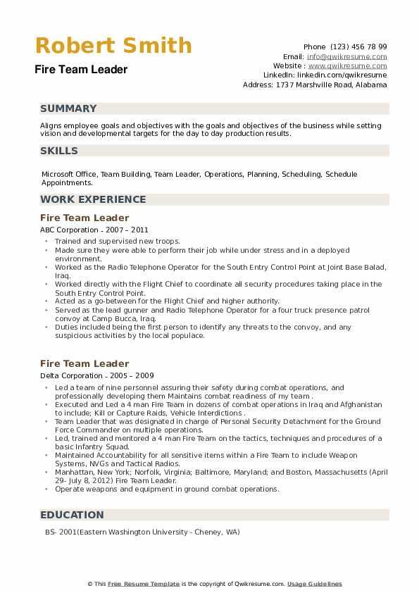 Fire Team Leader Resume example