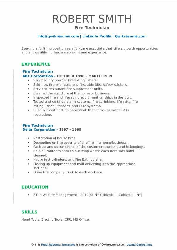 resume fire technician samples hunting pdf qwikresume build sample