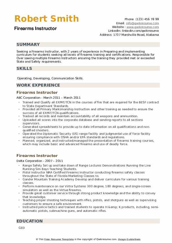 Firearms Instructor Resume example