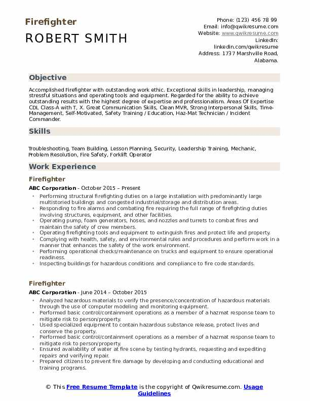 Firefighter Resume Example