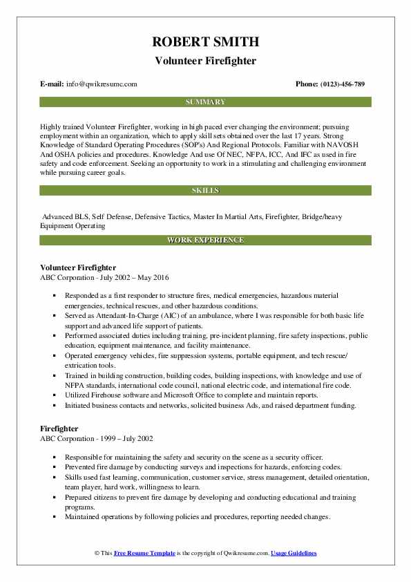 Fire Fighter Resume Samples