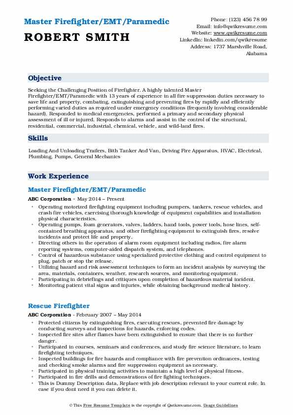 Master Firefighter/EMT/Paramedic Resume Example