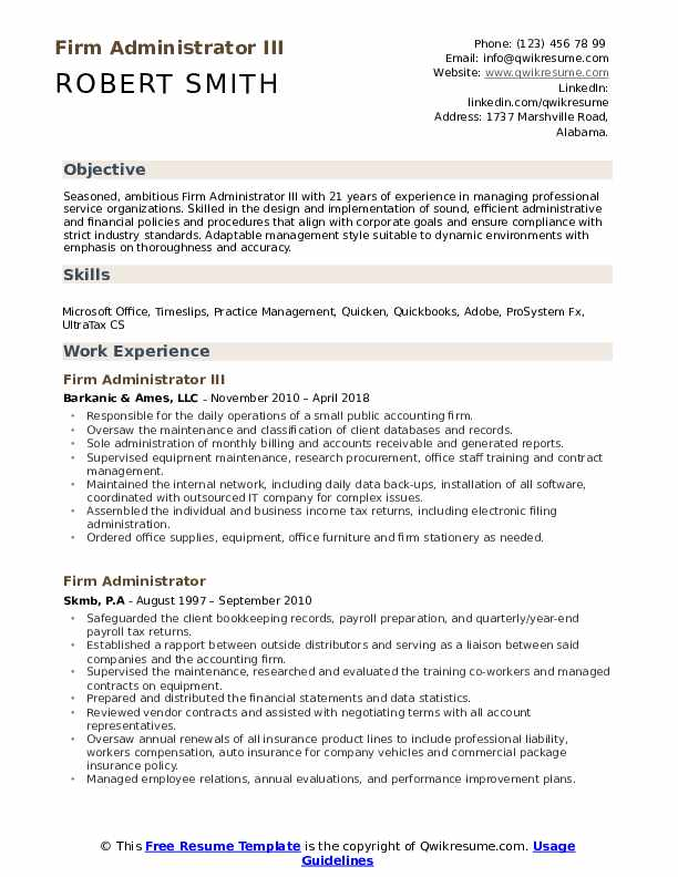 Firm Administrator III Resume Example