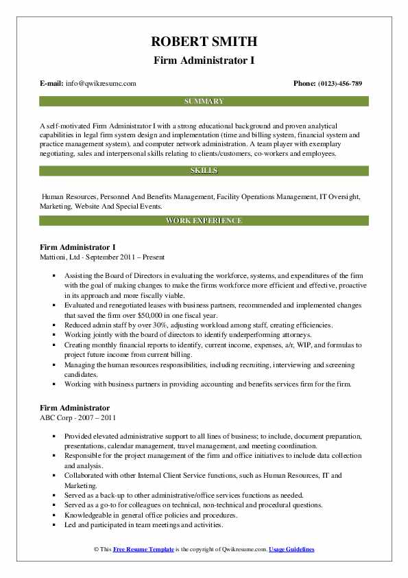 Firm Administrator I Resume Format