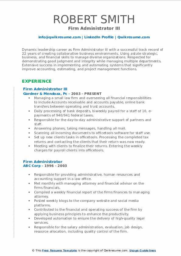 Firm Administrator III Resume Format