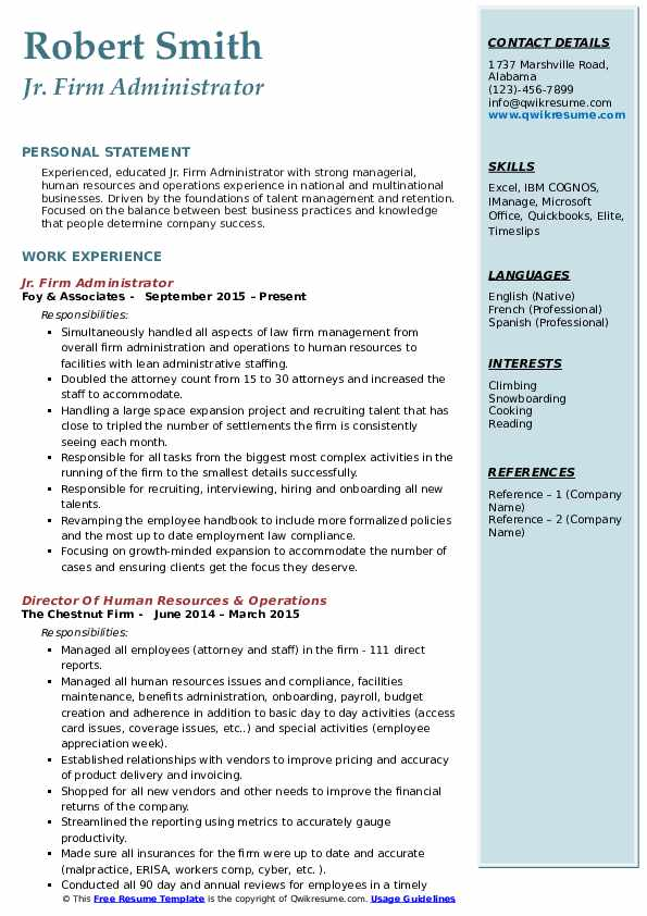 Jr. Firm Administrator Resume Example