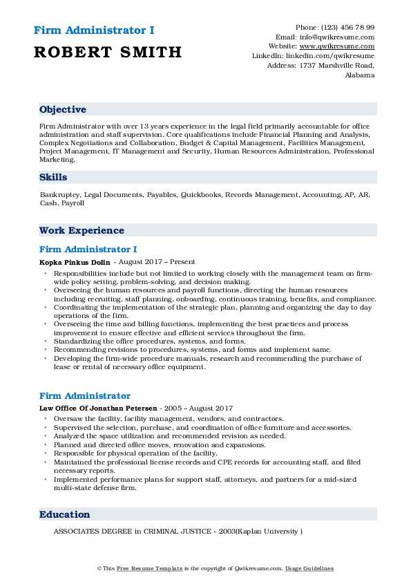 Firm Administrator I Resume Example