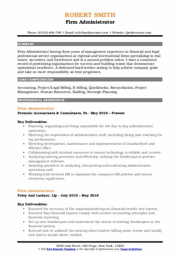 Firm Administrator Resume Template