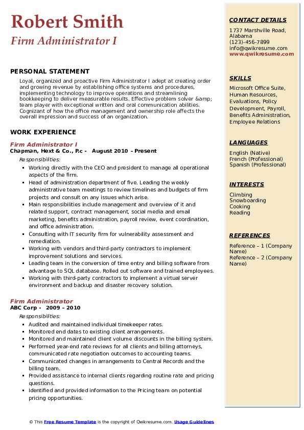 Firm Administrator I Resume Template