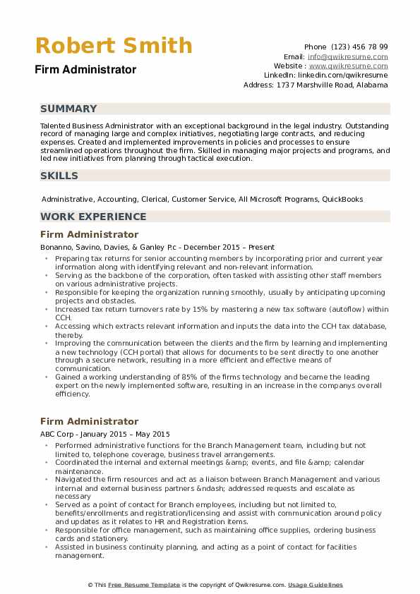 Firm Administrator Resume example