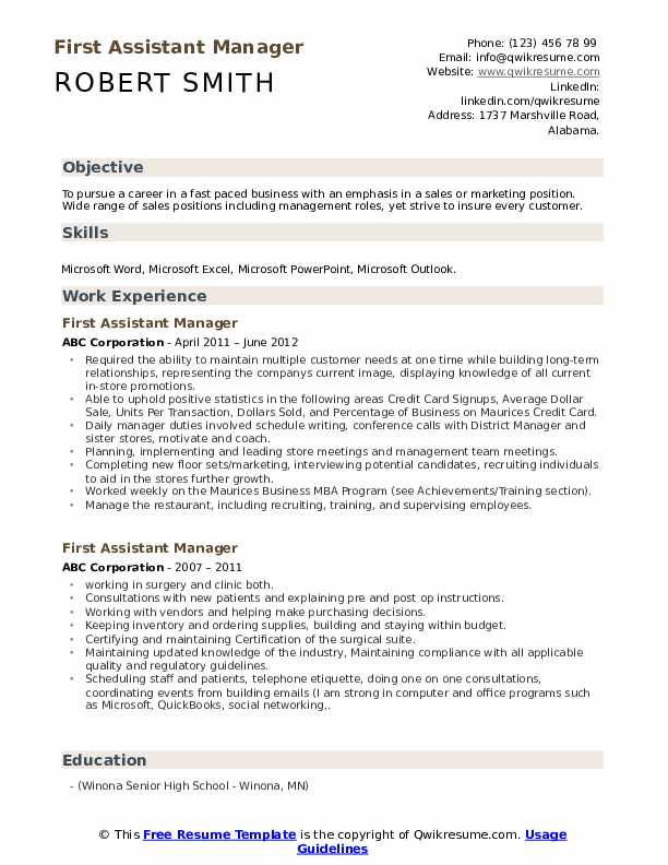First Assistant Manager Resume Format