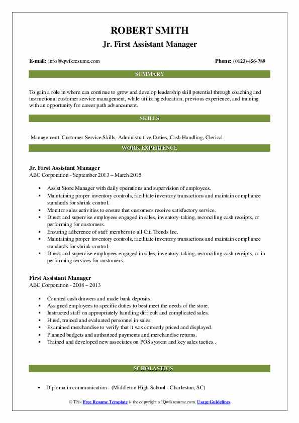 Jr. First Assistant Manager Resume Example