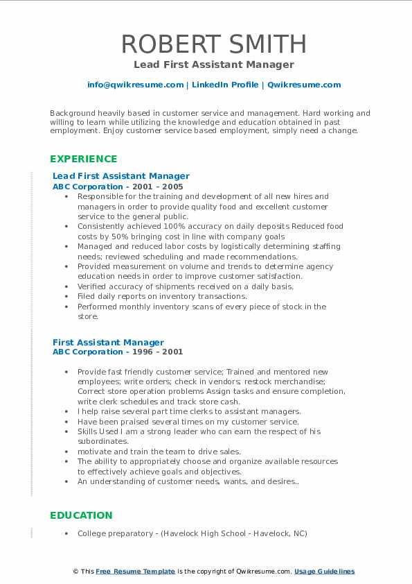 Lead First Assistant Manager Resume Format