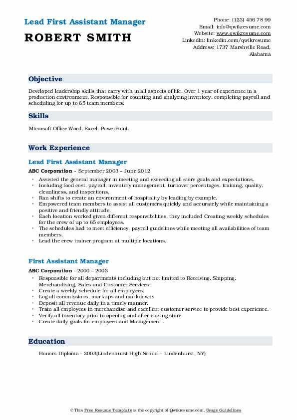Lead First Assistant Manager Resume Example