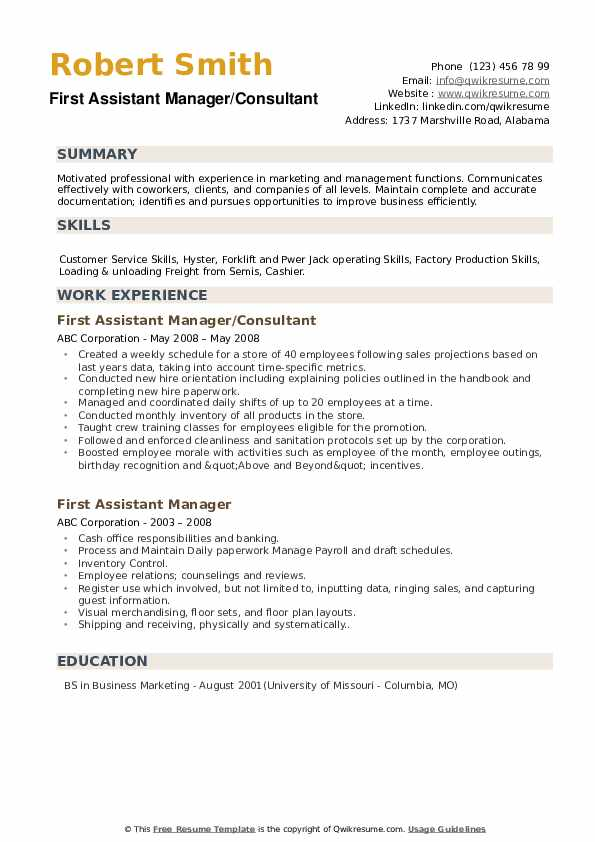 First Assistant Manager/Consultant Resume Model